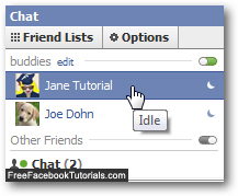 Appear idle before invisible and offline in Facebook Chat