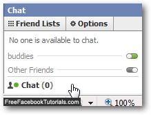 Click to manually hide the Facebook Chat client temporarily