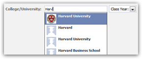 Colleges and universities listed in Facebook