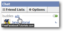 Edit a Facebook Chat friends list properties