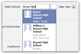 Facebook retrieving high schools for your profile