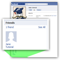 Friends list displayed on Facebook profile