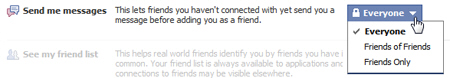 Only accept messages from some Facebook users