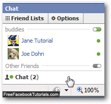 Show online available Facebook friends in Chat