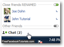 Show renamed friends list on Facebook Chat