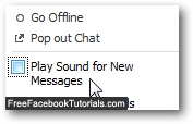 Uncheck and disable Facebook Chat sounds