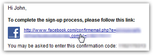 Confirm your email address with Facebook