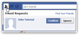 Confirm or ignore friend requests on Facebook
