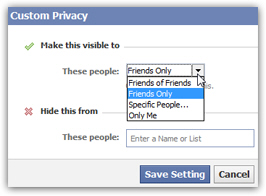 Custom privacy settings for relationship status on Facebook