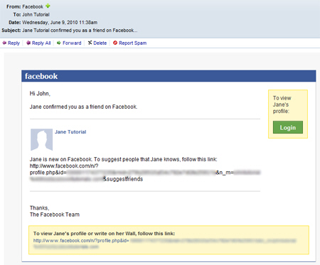 Sample Friend Request Email Message Sent From Facebook