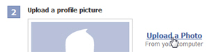Facebook offering to upload a profile picture (account photo)