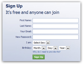 Fill in the Facebook sign up form to create your profile