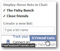 friends list names displayed in Facebook Chat client