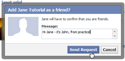 Send friend request (friendship) on Facebook
